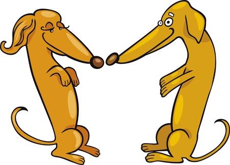 perros graciosos: Dachshund perros en amor