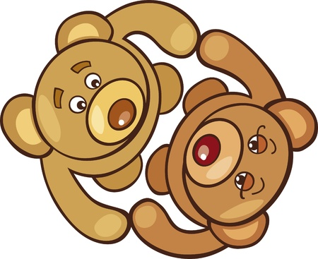 Two teddy bears in love Vector