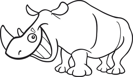 funny rhinoceros for coloring book Vector