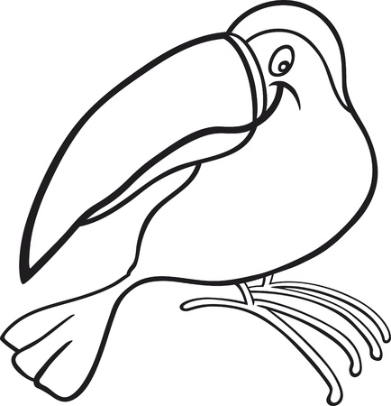 funny toucan for coloring book Vector
