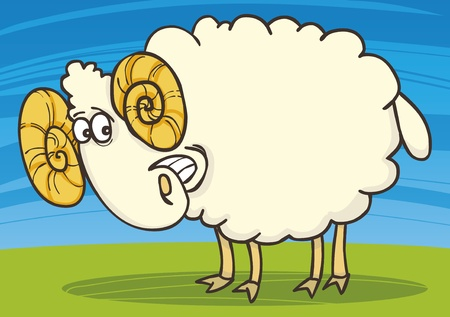 rams horns: cartoon illustration of funny happy ram