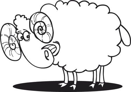 coloring pages: cartoon illustration of happy ram for coloring book