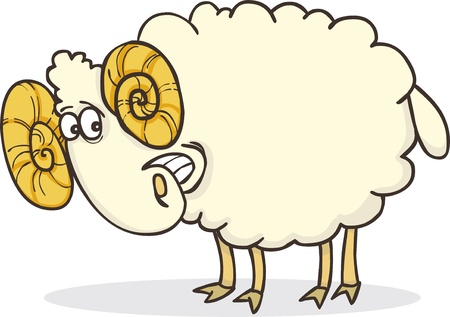 carnero: Ilustración de dibujos animados de ram feliz divertido