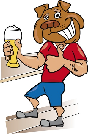 beer drinking: Bulldog man with glass of beer cartoon illustration