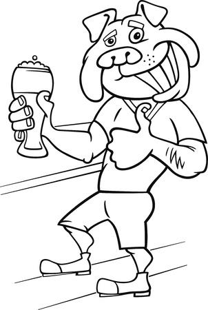 sneer: bulldog man with glass of beer cartoon illustration Illustration