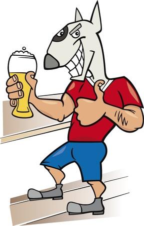 bullterrier: bullterrier man with glass of beer cartoon illustration