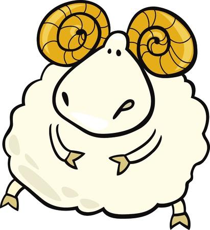 carnero: caricatura ilustración del signo de aries