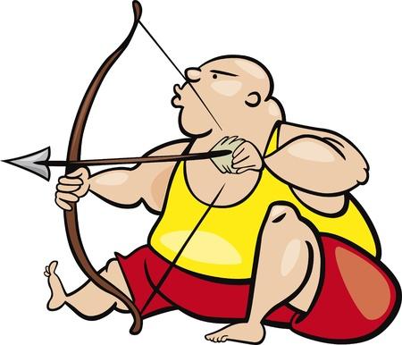 witty: cartoon Illustration of sagittarius sign