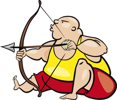 sagitario: ilustración de dibujos animados de signo sagitario
