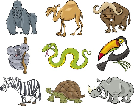 cartoon animal: cartoon illustration of nine funny wild animals