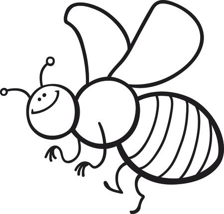 dibujos para colorear: colorear ilustraci�n de dibujos animados de p�gina de abeja divertido