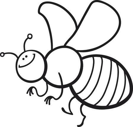 coloring page cartoon illustration of funny bee Stock Vector - 10746485