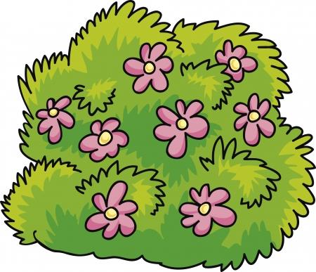 ilustración de dibujos animados de color verde arbusto con flores rosas