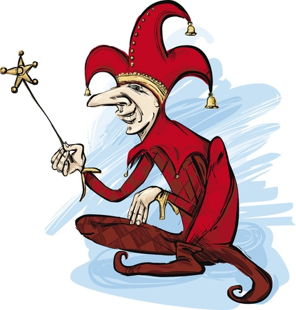 prankster: illustration of court jester in red costume