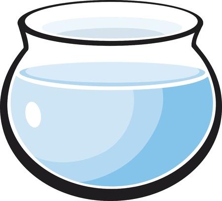 ciotola: Illustrazione del cartone animato acquario vuoto