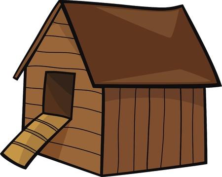 granero: ilustraci�n de dibujos animados de la casa de granja de gallinas Vectores