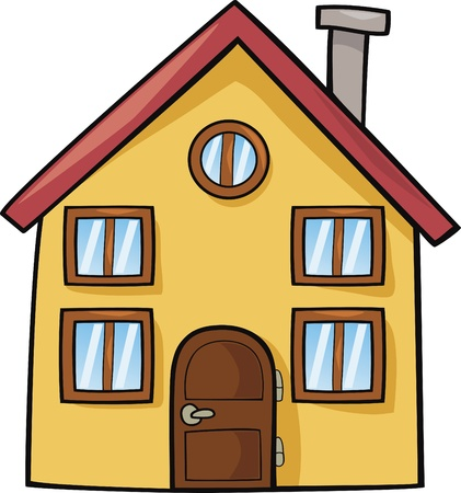 house illustration: funny house cartoon illustration
