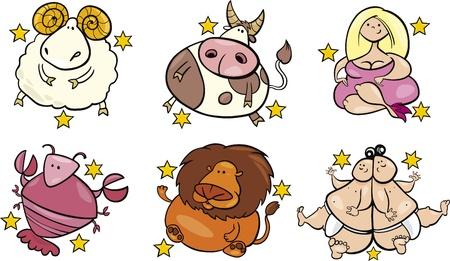 aries: ilustración de los seis signos del zodiaco con sobrepeso de abril a septiembre Vectores