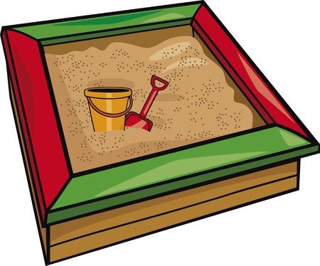 Sandkasten mit Spielzeug Karikaturillustration