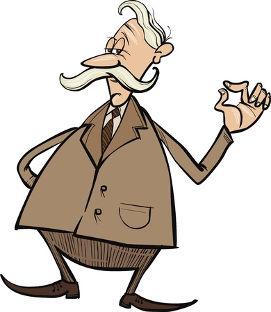 old business man: senior businessman cartoon illustration