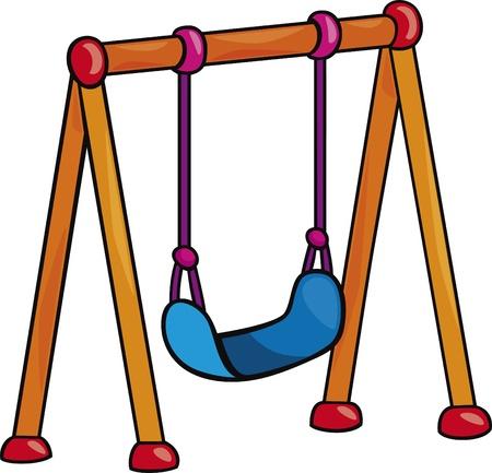 school playground: garden swing cartoon illustration