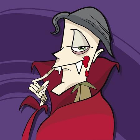 sneer: cartoon illustration of funny vampire