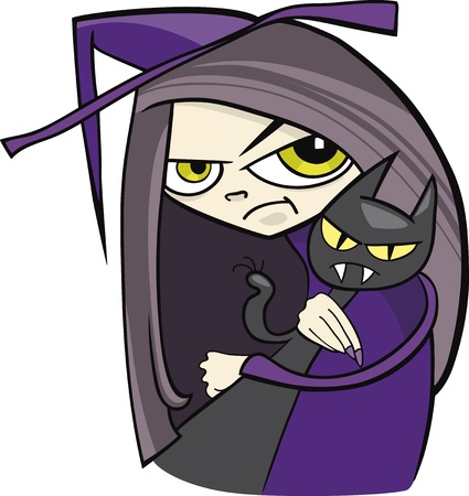 cartoon witch with black cat Vector
