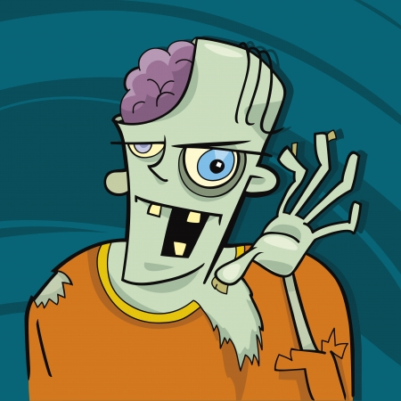 cartoon illustration of funny zombie Vector