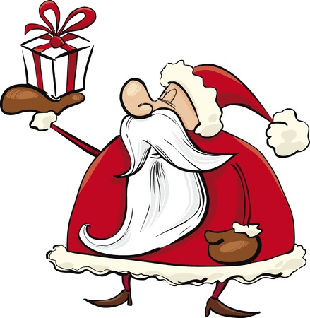 humorous: cartoon illustration of Santa Claus with special gift