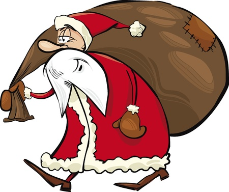 cartoon illustration of Santa Claus with gifts Vector