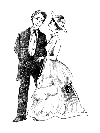 vintage drawing illustration of retro couple