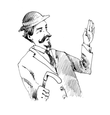 dignified: vintage drawing illustration of retro man in suit