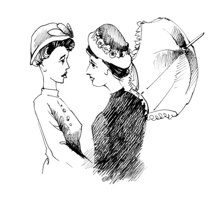 vintage drawing illustration of two women talking
