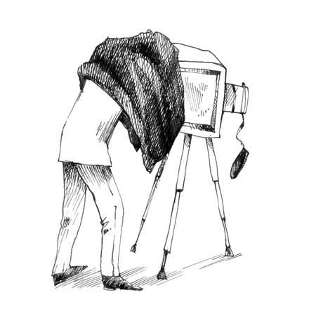 vintage drawing illustration of photographer making a photo