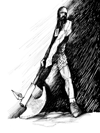 drawing illustration of ancient fantasy warrior with axe