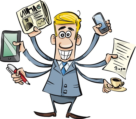 gain: cartoon illustration of busy businessman
