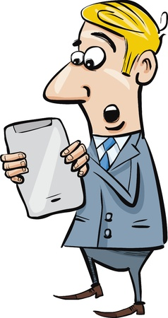 gain: cartoon illustration of startled businessman with tablet
