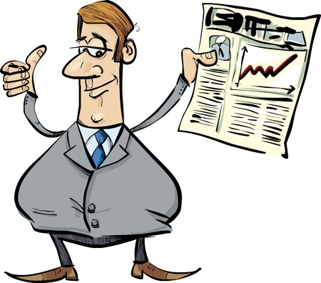 satisfied: cartoon illustration of businessman with newspaper satisfied for share raises