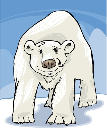 cartoon illustration of funny white polar bear Vector