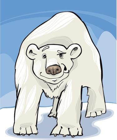south pole: cartoon illustration of funny white polar bear Illustration