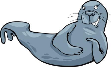 north pole: cartoon illustration of funny grey seal