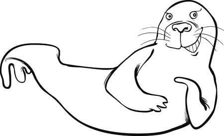 walrus: funny seal coloring page