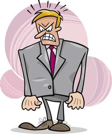 angry cartoon: cartoon humorous illustration of angry boss Illustration
