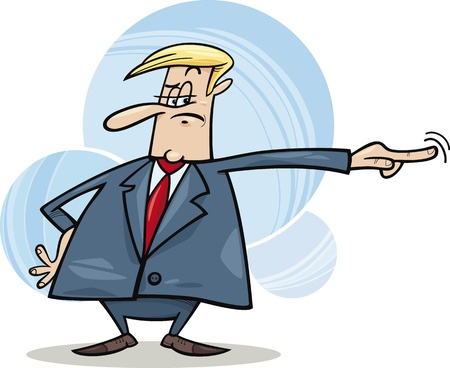 dismiss: cartoon humorous illustration of angry boss firing somebody Illustration