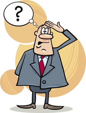 forgetful: cartoon illustration of funny confused boss