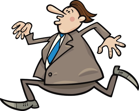 cartoon illustration of funny running overweight businessman Vector