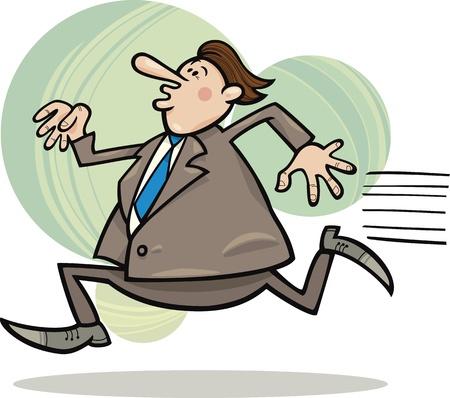 tired man: cartoon illustration of funny running overweight businessman Illustration