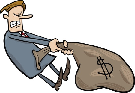 weak: cartoon illustration of businessman draging huge sack of dollars Illustration