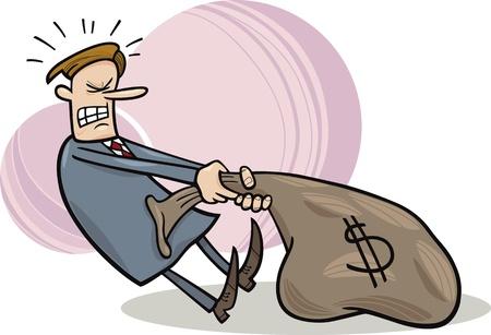 tired man: cartoon illustration of businessman draging huge sack of dollars Illustration
