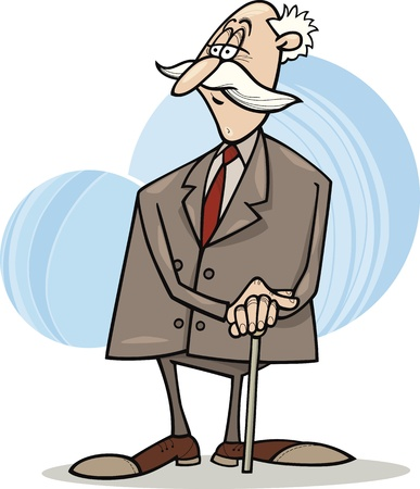 cartoon illustration of senior businessman with cane